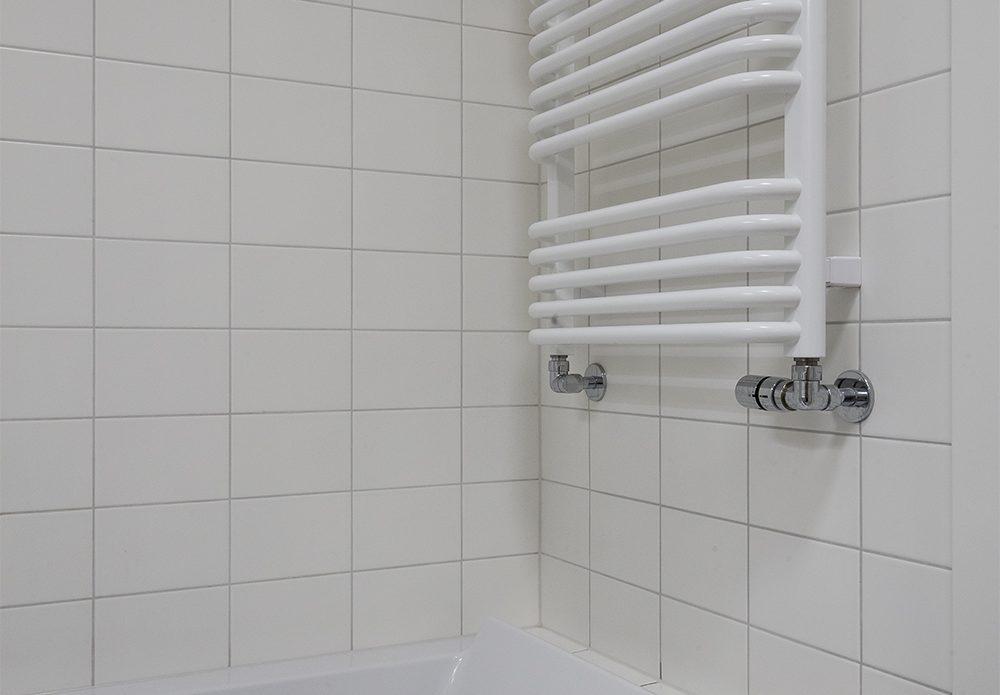 Biała łazienka z jasnym drewnem